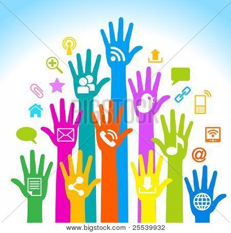 Desarrollo de los medios de comunicación-humanos-mobile.The de comunicaciones globales. Comunicación móvil y internet ne