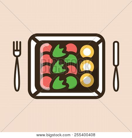 Salad In Disposable Carton Paper Box With Fork And Knife. Colorful Isolated Vector Icon In Flat Styl