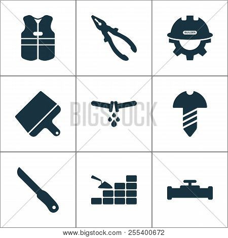 Construction Icons Set With Knife, Builder, Pliers And Other Nippers Elements. Isolated  Illustratio