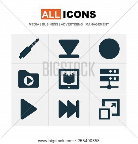 Media Icons Set With Media Server, Arrow Down, Dossier And Other E-reader Elements. Isolated  Illust