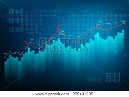 Finance Chart. Stock Graph Market. Growth Business Blue Vector Background. Bond Data Online Bank.