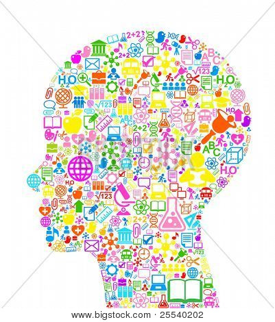 the concept of learning. Vector background of the many icons on the topic of education poster