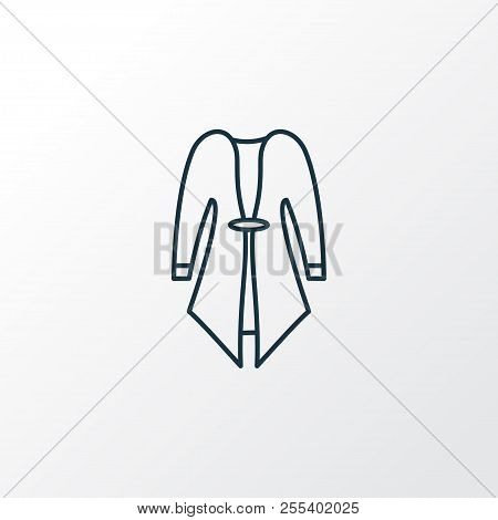 Cardigan Icon Line Symbol. Premium Quality Isolated Overcoat Element In Trendy Style.