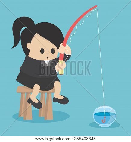 Business Concept No Plan Is Considered Disastrous, Business Women Fishing In A Dozen Glasses Empty