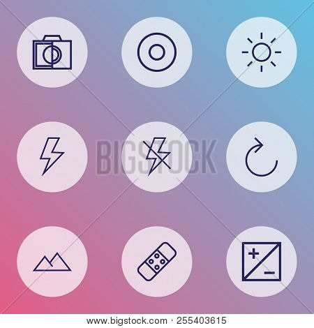 Picture icons line style set with reload, filtration, colorless and other adjust elements. Isolated vector illustration picture icons. poster