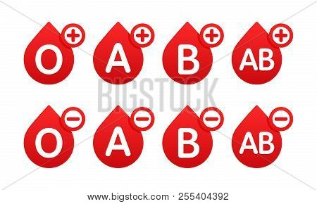 Blood Group In The Form Of A Drop Of Blood. Different Blood Types Vector Illustration. Blood Test.