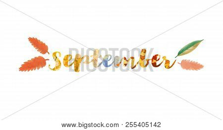 September Word Text. Lettering Typography. Bright Illustration For Poster, Postcard, Greeting Card,
