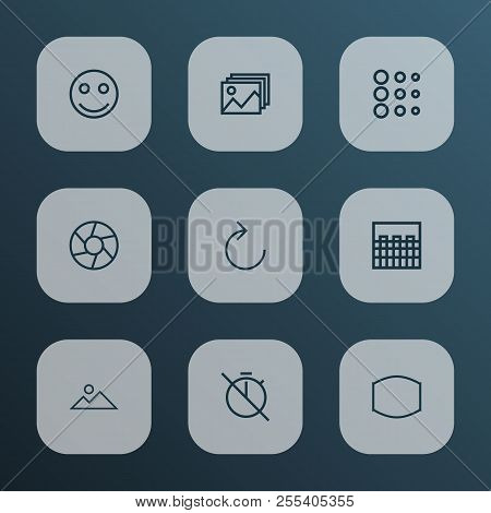 Image Icons Line Style Set With Image, Reload, Circle And Other Landscape Elements. Isolated  Illust