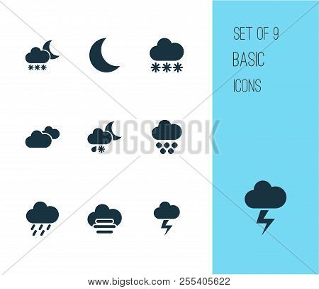 Climate Icons Set With Storm, Night, Misty And Cloudy Light Snow Shower Night Elements. Isolated  Il