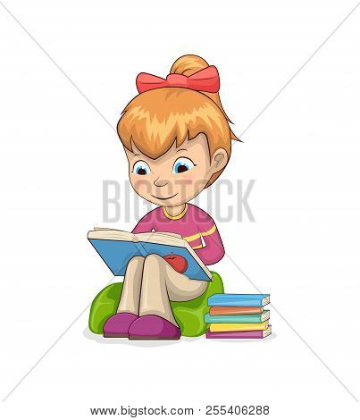 Girl Sitting In Armchair Reading Books, Attentive Modest Toddler Examining And Learning New Things,