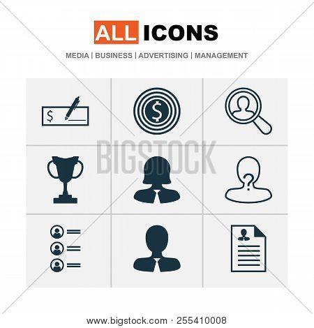 Management Icons Set With Manager, Administrator, Search Worker And Other Manager Elements. Isolated