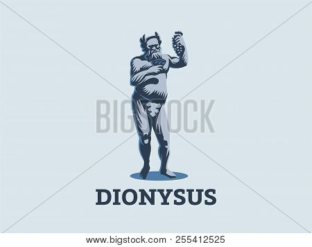 Dionysus Or Bacchus Holds A Bunch Of Grapes And A Glass Of Wine In His Hands. Vector Emblem.
