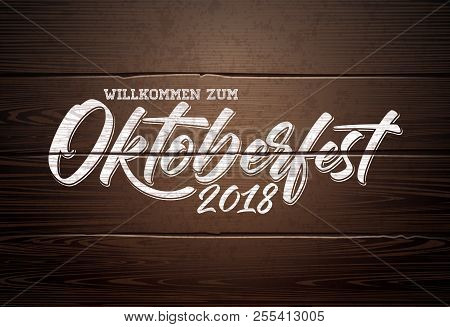 Oktoberfest Illustration With Handwritten Lettering On Vintage Wood Background. Oktoberfest Typograp