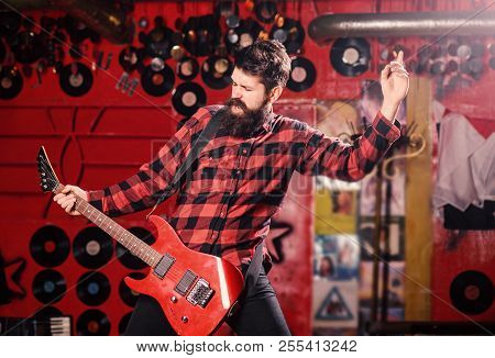 Man With Shouting Face Play Guitar, Singing Song, Play Music, Music Club Background. Frontman Concep
