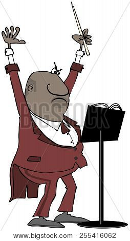 Illustration Of A Male Black Orchestra Conductor Raising His Arms And Leading With His Baton.