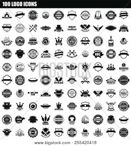 100 Logo Icon Set. Simple Set Of 100 Logo Icons For Web Design Isolated On White Background