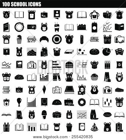 100 School Icon Set. Simple Set Of 100 School Icons For Web Design Isolated On White Background