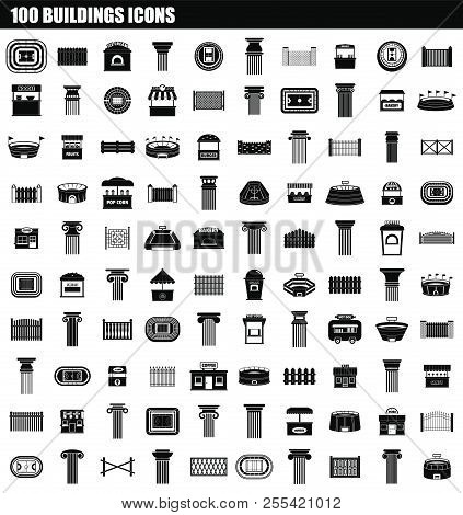 100 Buildings Icon Set. Simple Set Of 100 Buildings Icons For Web Design Isolated On White Backgroun