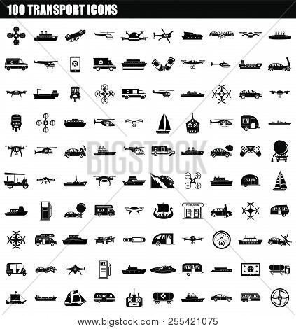 100 Transport Icon Set. Simple Set Of 100 Transport Icons For Web Design Isolated On White Backgroun
