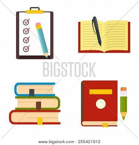 Homework Study School Icons Set. Flat Illustration Of 4 Homework Study School Icons Isolated On Whit
