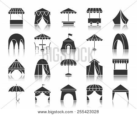 Tent Silhouette Icons Set. Sign Kit Of Umbrella. Summer Awning Pictogram Collection Includes Garden