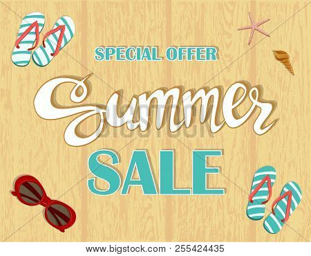 Summer Sale Banner, Signboard, Decor For The Store. Special Offer. Background, Vector.