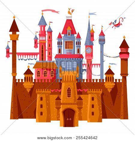 Fairytale Medieval Castle And Fortress. The Princess Castle. Wonderland. Vector Illustration.
