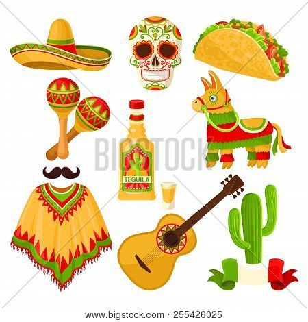 Mexican Holiday Symbols Set, Sombrero Hat, Sugar Skull, Taco, Maracas, Pinata, Tequila Bottle, Ponch