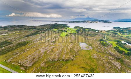 Norway Coast Landscape With Island Aerial Drone View