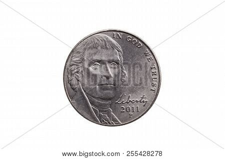 Usa Half Dime Nickel Coin (25 Cents) With A Portrait Image Of Thomas Jefferson Cut Out And Isolated