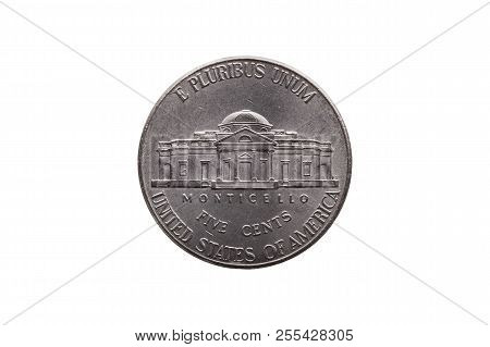 Usa Half Dime Nickel Coin (25 Cents) Reverse Showing Monticello Cut Out And Isolated On A White Back