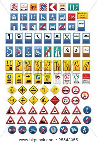 Set of traffic signs. Vector illustration.