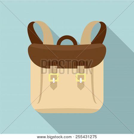 Adventure Backpack Icon. Flat Illustration Of Adventure Backpack Icon For Web Design