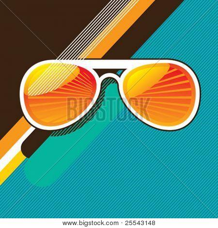 Retro background with sunglasses. Vector illustration.