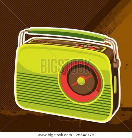 Designed retro radio background. Vector illustration.