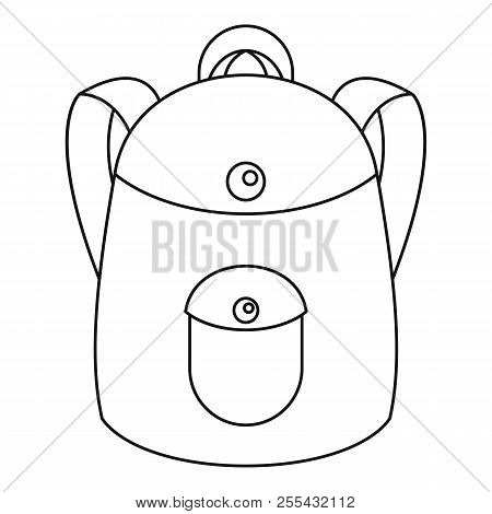 School Backpack Icon. Outline School Backpack Icon For Web Design Isolated On White Background