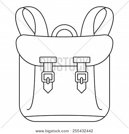 Adventure Backpack Icon. Outline Adventure Backpack Icon For Web Design Isolated On White Background