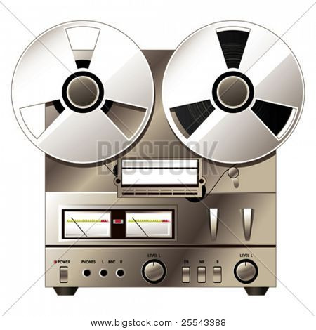 Retro hi-fi stereo system. Vector illustration.