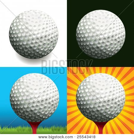 Golf ball on different backgrounds. Vector illustration.