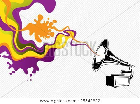 Designed stylized banner with old gramophone. Vector illustration.