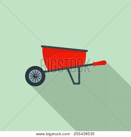 One Wheel Barrow Icon. Flat Illustration Of One Wheel Barrow Icon For Web Design