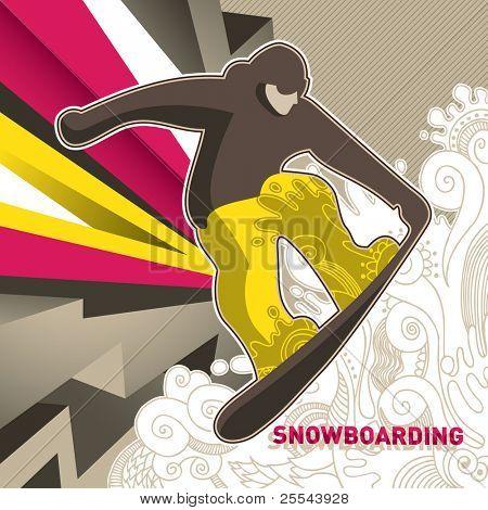 Designed artistic skateboarding banner. Vector illustration.