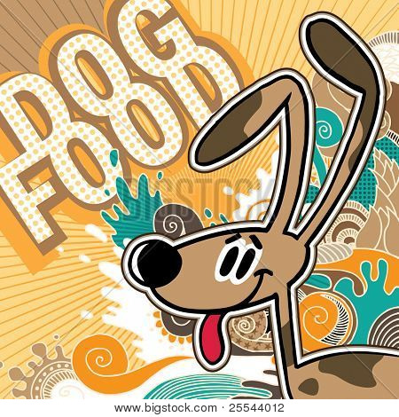 Illustrated comic dog food background. Vector illustration.