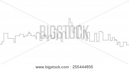 Continous Line Skyline Of Manhattan. Vector Illustration Design