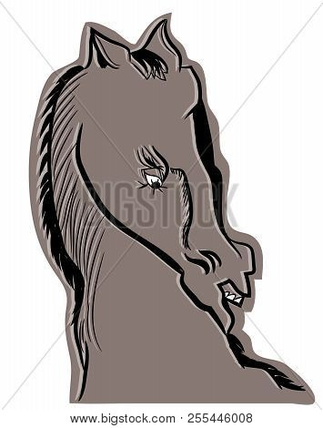 Wild Horse Head.  Illustration Of Angry Horse Screaming.