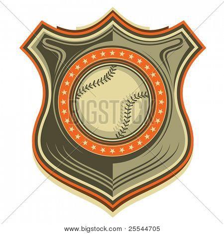Illustrated retro baseball crest. Vector illustration.