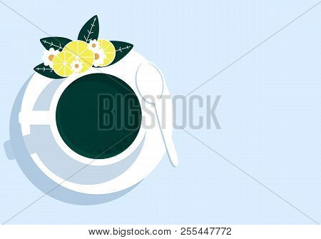 Cup Of Tea With Lemon, Vector Art Illustration.