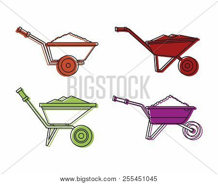 One Wheel Barrow Icon Set. Color Outline Set Of One Wheel Barrow Icons For Web Design Isolated On Wh