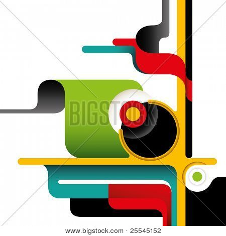 Artistic layout with designed abstract shapes. Vector illustration.
