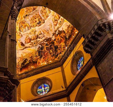 Florence, Italy - September 25, 2017 Arch Giorgio Vasari Fresco Jesus Last Judgment Dome Duomo Cathe